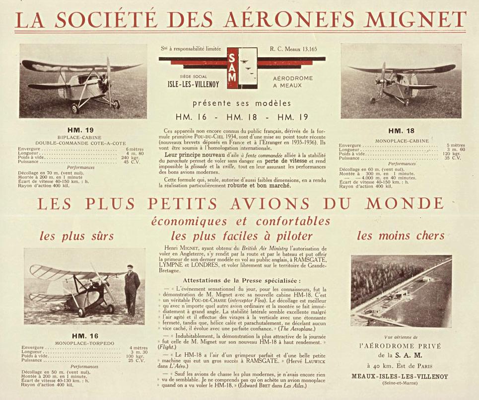 Dépliant présentant les appareils de la S.A.M, la société fondée par Henri Mignet à Isles-lès-Villenoy. (Coll. AEROSCOPE)